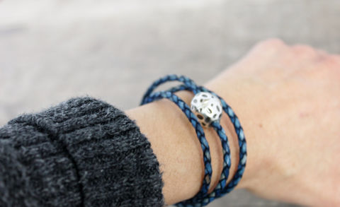 Wrapped,woven,leather,/,Antique,Blue/,Magnetic,Bracelet,Jewelry,Leather_bracelet,Wrapped_bracelet,Woven_bracelet,Boho_Bracelet,Boho_jewelry,women's_bracelets,leather_bracelets,unisex_bracelets,iseadesigns,blue_leather,seaside_bracelet,Eco friendly leather,European silver casting