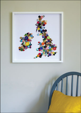 Handmade,Map,of,the,British,Isles,British Isles MAP, UK wall map, UK map wall art, UK map button art, Great Britain map wall art, great Britain map button art,  Framed button art, handmade UK map, handmade button art, Country wall Maps, Colourful wall Maps, bespoke wall maps, Collage butt