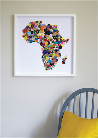Handmade,Map,of,Africa,Africa wall map, Africa map wall art, Africa map button art, Framed button art, handmade Africa map, handmade button art, Country wall Maps, Colourful wall Maps, bespoke wall maps, Collage button art