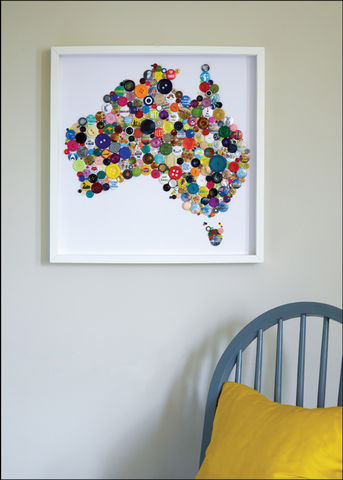 Handmade,Map,of,Australia,Australia wall map, Australia map wall art, Australia map button art, Framed button art, handmade Australia map, handmade button art, Country wall Maps, Colourful wall Maps, bespoke wall maps, Collage button art