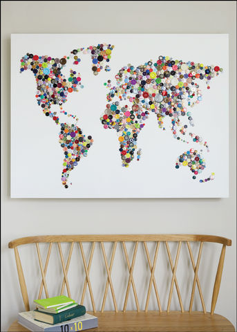 Handmade,Map,of,the,World,World Map art, map of the world art, world map button art, Framed wall Art, wall map, Colourful world Map, Handmade art, Bespoke Map, Collage wall art