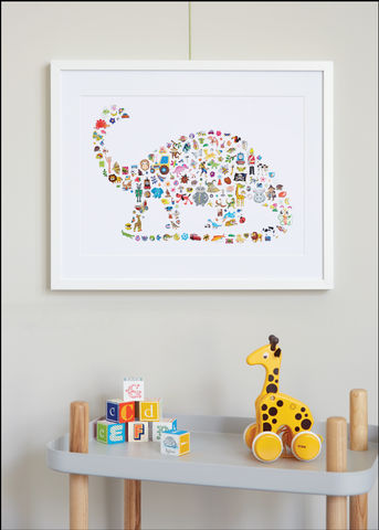 Handmade,I,Spy,A...,Dinosaur,Children's,Print,Children's prints, children's unframed prints, graphic prints, children's dinosaur print, handmade children's gifts, handmade children's art, bespoke children's gifts, personalised children's gifts, children's print, children's stickers, sticker art, chil