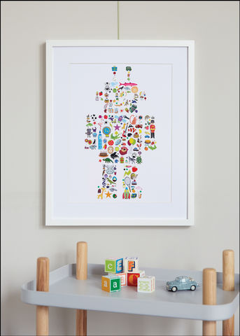 Handmade,I,Spy,A...,Robot,Children's,Print,Children's prints, children's unframed prints, graphic prints, children's robot print, handmade children's gifts, handmade children's art, bespoke children's gifts, children's gifts, children's print, children's stickers, sticker art, children's reward st