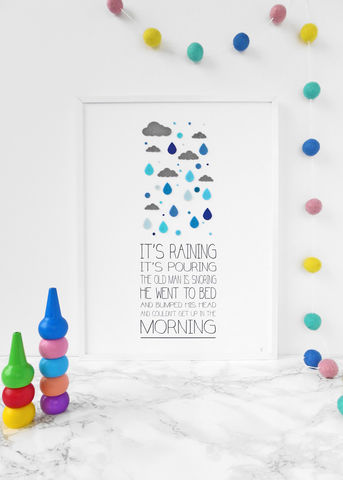 It's,Raining,Children's,Nursery,Rhyme,Print,Children's prints, children's unframed prints, graphic prints, rhyme print, handmade children's gifts, handmade children's art, bespoke children's gifts, personalised children's gifts, children's print, children's felt, felt art