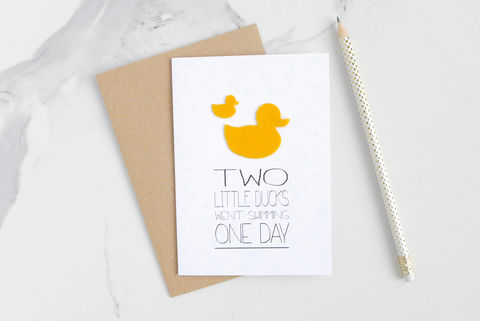 Two,Little,Ducks,children's,rhyme,card,childrens card, greeting card, blank inside card, nursery rhyme, felt