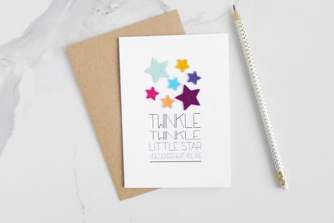 Twinkle,little,star,children's,rhyme,card,childrens card, greeting card, blank inside card, nursery rhyme, felt