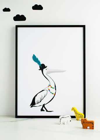 The,Flapper,Pelican,Children's,Print,Children's prints, children's unframed prints, pelican print, animal print, graphic prints, handmade children's gifts, handmade children's art, bespoke children's gifts, personalised children's gifts, children's print, children's felt, felt art