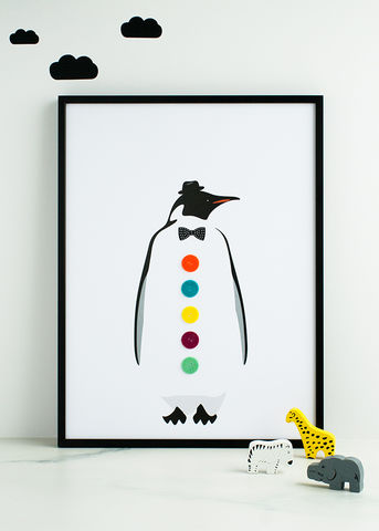 The,Dapper,Penguin,Children's,Print,Children's prints, children's unframed prints, penguin print, animal print, graphic prints, handmade children's gifts, handmade children's art, bespoke children's gifts, personalised children's gifts, children's print, children's felt, felt art