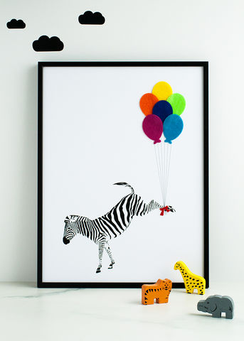 The,Flying,Zebra,Children's,Print,Children's prints, children's unframed prints, zebra print, animal print, graphic prints, handmade children's gifts, handmade children's art, bespoke children's gifts, personalised children's gifts, children's print, children's felt, felt art