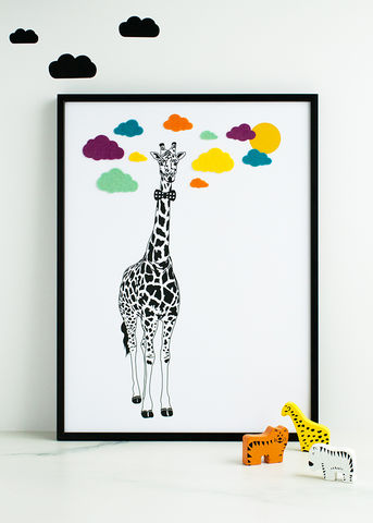 The,Giant,Giraffe,Children's,Print,Children's prints, children's unframed prints, animal print, graphic prints, handmade children's gifts, handmade children's art, bespoke children's gifts, personalised children's gifts, children's print, children's felt, felt art