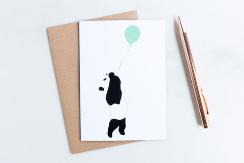 The,Party,Panda,card,childrens card, greeting card, birthday card, blank inside card, animal, felt, panda card