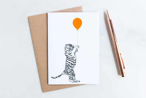 The,Party,Tiger,card,childrens card, greeting card, birthday card, blank inside card, animal, felt, tiger card