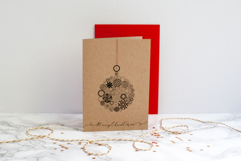 Button,Bauble,Christmas,Card-,Classic,Christmas card, bauble card, greeting card, blank inside card, elegant Christmas card