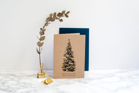 Kraft,Christmas,Tree,Card,with,Gold,Star,Christmas card, Christmas tree card, greeting card, blank inside card, kraft Christmas card