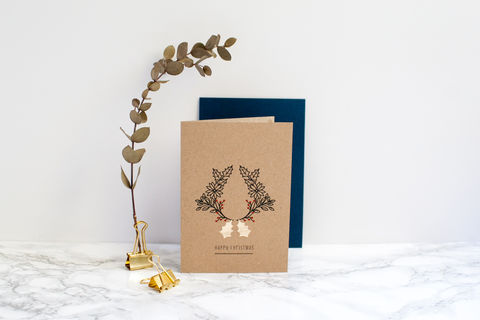 Kraft,Christmas,Wreath,Card,with,Gold,Holly,Christmas card, Christmas wreath card, greeting card, blank inside card, kraft Christmas card