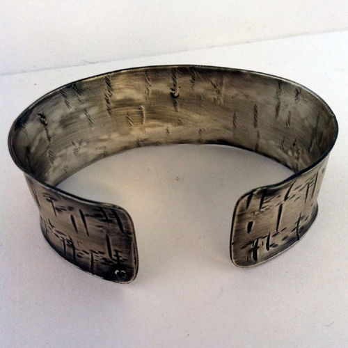 Unisex Sterling Silver Cuff Made to Order - Birch - Free Shipping - product images  of