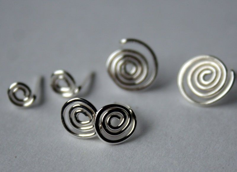 Sterling Silver Spiral Post Earrings  Free Shipping - product images  of