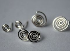 Sterling Silver Spiral Post Earrings  Free Shipping - product images 1 of 3