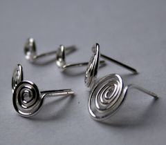 Sterling Silver Spiral Post Earrings  Free Shipping - product images 2 of 3