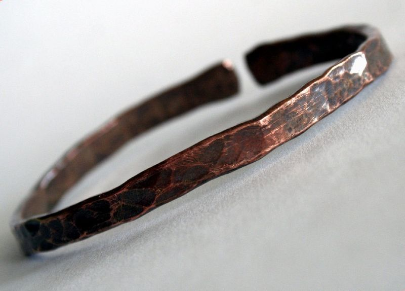 Unisex Recycled Copper  Bangle Bracelet Made to Order Free Shipping - product images  of