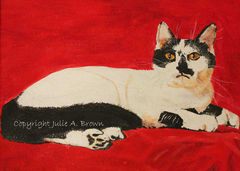 Your,Highness,Cat,8,x,10,Limited,Edition,Giclee,Fine,Art,Print-Free,Shipping,archival, limited edition, print, cat, black and white cat, red, tuxedo cat,  wabibrookstudio,  ontario