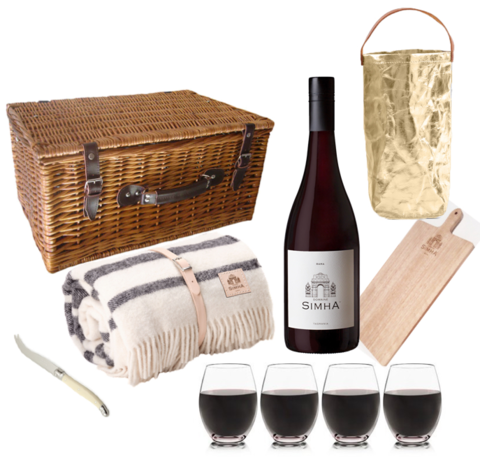 ULTIMATE,PICNIC,HAMPER,Ultimate picnic hamper basket Wool woollen blanket Made in Tasmania Tasmania wine Domaine Simha accessory accessories laguiole knife cheese lifestyle Hobart glasses glass unbreakable cheese board oak carry bag metallic