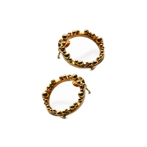 ORB,Hoops,medium,gold,by,Katerina,Damilos,hoops, hoop earrings, granulated, granulation, gold hoops, ear studs, understated, asymmetric, textured