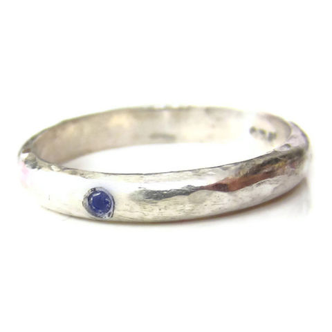 Rustic,Silver,Ring,with,a,blue,Sapphire,by,Catherine,Marche,bespoke wedding rings, rustic silver ring, rings for men, silver wedding band