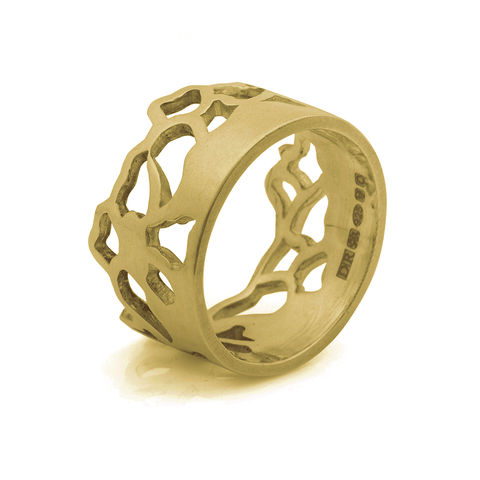 Embroidery,ring,wide,yellow,gold,by,Danny,Ries,cut-out ring, lace, 9ct yellow gold