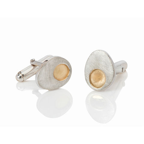 Gold,Dot,cufflinks,by,Danny,Ries,jewellery for men,silver and gold cufflinks, jewellery, jewelry, silver cufflinks, designer cufflinks, gold and silver, danny ries, london