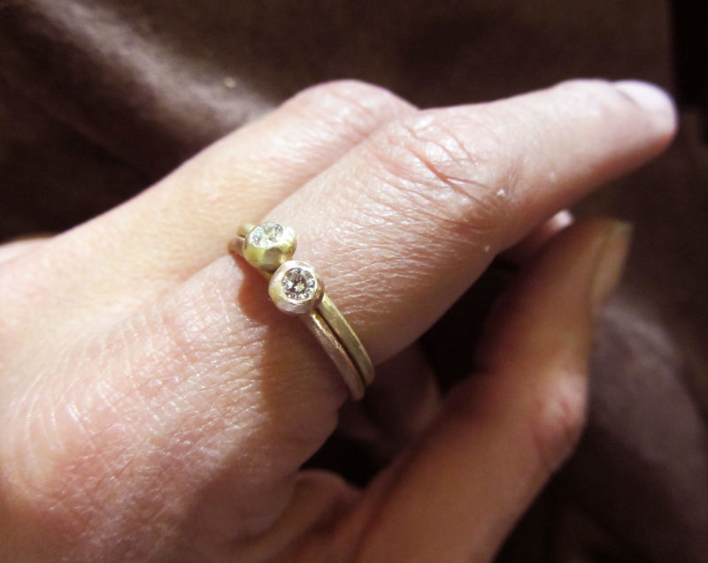 Rose Gold and Diamond Stacking Ring - 18ct solid gold ring by Catherine Marche - product images  of