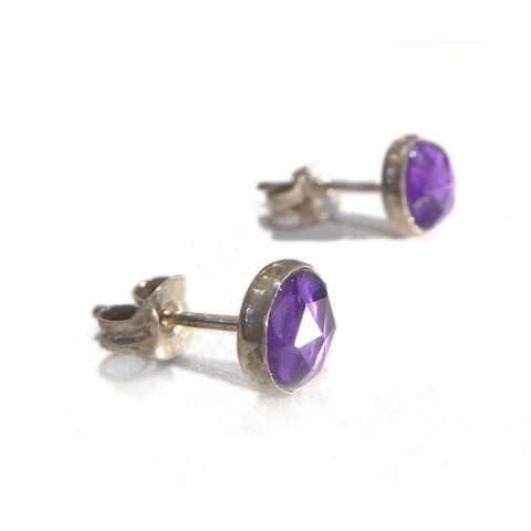 Purple,Amethyst,Stud,Earrings,by,Catherine,Marche,purple earrings, amethyst stud earrings, round gemstones studs, purple jewellery, faceted gemstones earrings, round earrings, catherine marche jewellery, jedeco designer jewellers, london jeweller, bespoke jewellery