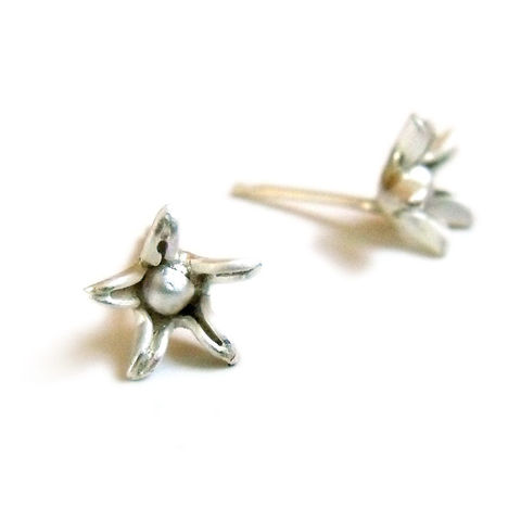 Sterling,Silver,Star,Flower,Stud,Earrings,by,Catherine,Marche,flower jewellery, flower stud earrings, flower earrings, star earrings, sterling silver stud earrings, handmade jewellery, made in the UK, catherine Marche