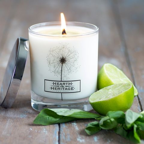 Basil,and,Lime,Natural,Wax,Scented,Candle,citrus, fruity, Basil, lime, Soy wax, strong scented candle, made in uk, english candle, natural candle