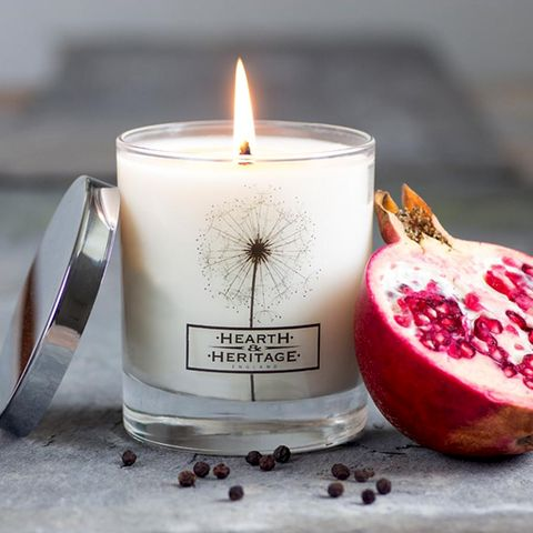 Fallen,Fruit,Natural,Wax,Scented,Candle,Pomegranate, Plum, noir, cinnamon, Soy wax, strong scented candle, made in uk, english candle, natural candle