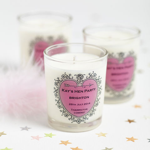 10,Hen,Party,Personalised,Scented,Votives,hen party, personalised candles, favours