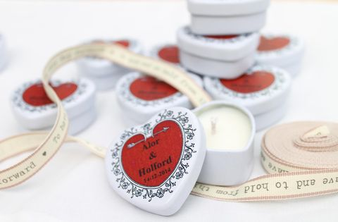 50,Heart,Tin,Wedding,Favour,Personalised,Candles,personalised candles, wedding favours, romantic, natural candles