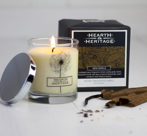 New,World,(tobacco,Leaf,&,Vanilla),Scented,Candle,tobacco leaf, vanilla, scented candle, soy scented candle, new world