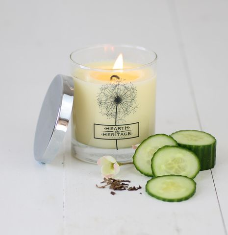 Vicarage,Tea,Natural,Wax,Scented,Candle,coriander, cucumber,tea,lemon,perfume, woody, Soy wax, strong scented candle, made in uk, english candle, natural candle