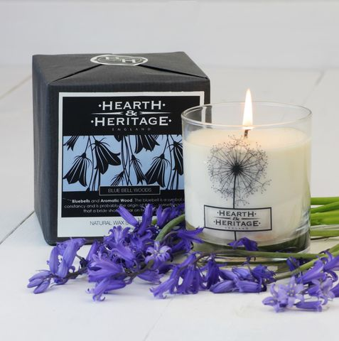 Bluebell,Woods,Natural,Wax,Scented,Candle, woody, Soy wax, strong scented candle, made in uk, english candle, natural candle