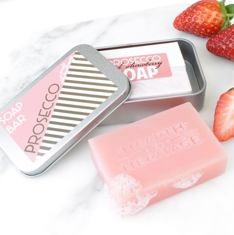 Prosecco,&,Strawberry,Travel,Soap,prosecco soap; travel soap; soap in a tin; strawberry beauty; handmade soap; british beauty; prosecco gift