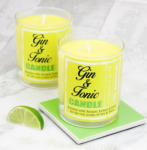 Gin,&,Tonic,Scented,Candle,Gin Gift, lemon, juniper, Gin & Tonic, Yellow, scented candle, british candle, strong scented candle