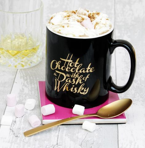 Hot,Chocolate,&,Whisky,Black,Gold,Mug,black mug; hot chocolate; whisky gift; gold; british gift