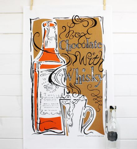 Hot,Chocolate,&,Whisky,Teatowel,chocolate, whisky, teatowel, art gift, printed teatowel