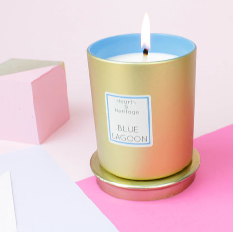 Blue,Lagoon,Scented,Candle,blue, oranges, Cherry, rum, coconut, cocktail, gold, Gin Sling, christmas, luxury candle, scented candle