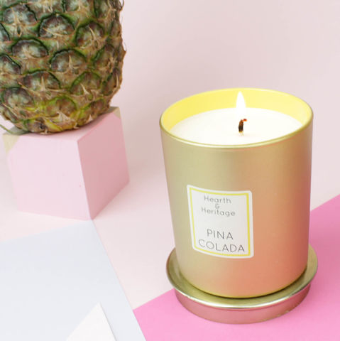 Pina,Colada,Scented,Candle,pineapple, rum, coconut, cocktail, gold, pina colada, christmas, luxury candle, scented candle
