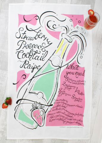 Prosecco,&,Strawberry,Teatowel, strawberry, teatowel, art gift, printed teatowel