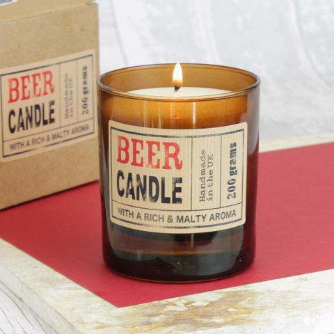 Beer,Scented,Natural,Wax,Candle,in,Brown,Glass,Container,beer, mens candle, mens grooming products, beer candle, brown glass candle
