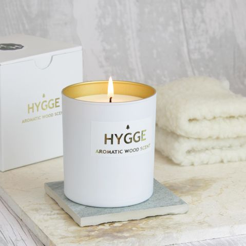 HYGGE,CANDLE,with,Aromatic,Wood,hygge, hygge home; hygge candle; cosy; aromatic wood
