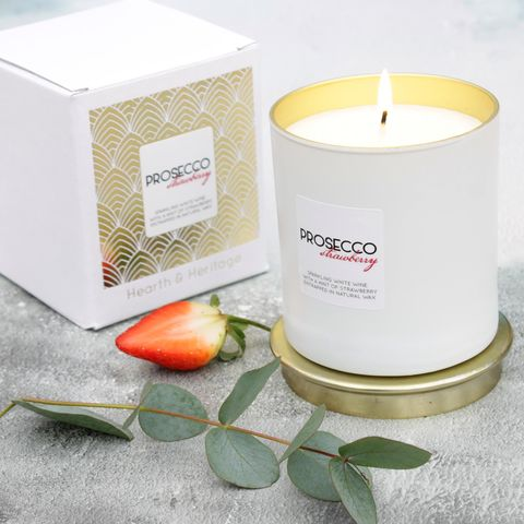 Prosecco,Scented,Candle,with,a,hint,of,Strawberry,prosecco, christmas, fizz candle, prosecco candle